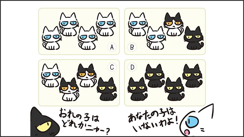 【猫クイズ-第15問】WWの遺伝子を持つ白猫と黒猫(ww)から生まれた子猫たちはどれか?